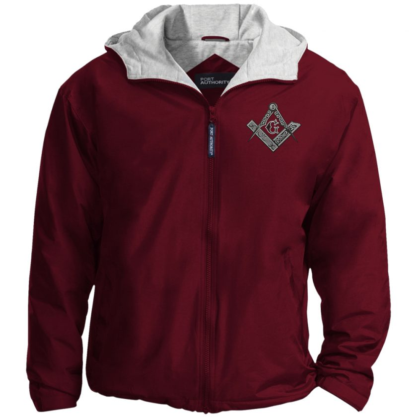 Square Compas Masonic Embroidered Jacket Maroon