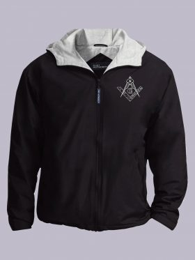 Square and compass embroidered masonic jacket featured