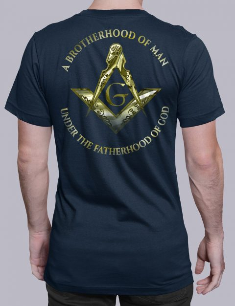 A Brotherhood Of Man Masonic T-shirt A Brotherhood Of Man 2 back navy shirt back 14