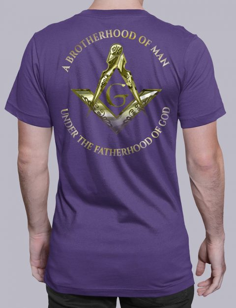 A Brotherhood Of Man Masonic T-shirt A Brotherhood Of Man 2 back purple shirt back 14