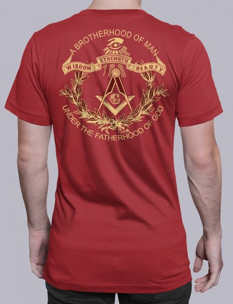 A Brotherhood Of Man Freemason T-shirt A Brotherhood Of Man back red shirt back 2