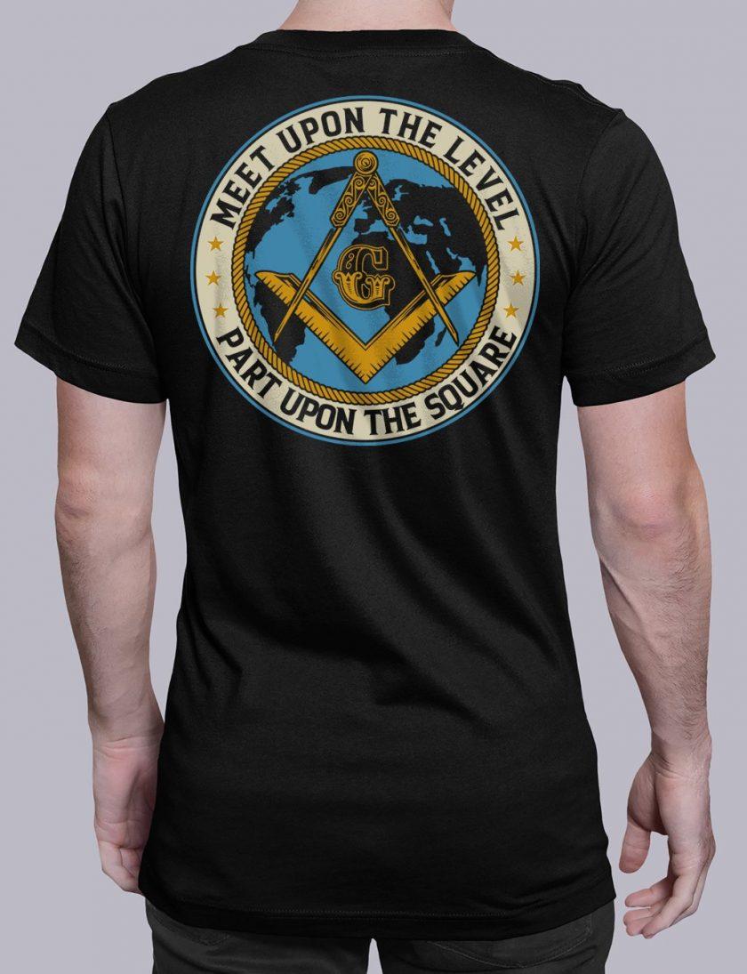 Meet Upon The Level Masonic T-shirt Meet Upon The Level. Part Upon The Square black shirt back 8