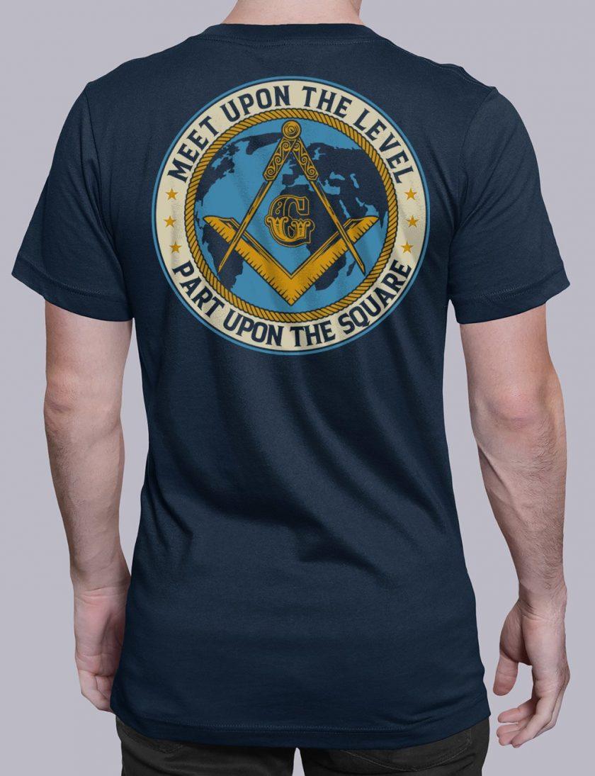 Meet Upon The Level Masonic T-shirt Meet Upon The Level. Part Upon The Square navy shirt back 8