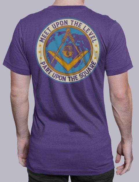 Meet Upon The Level Masonic T-shirt Meet Upon The Level. Part Upon The Square purple shirt back 8