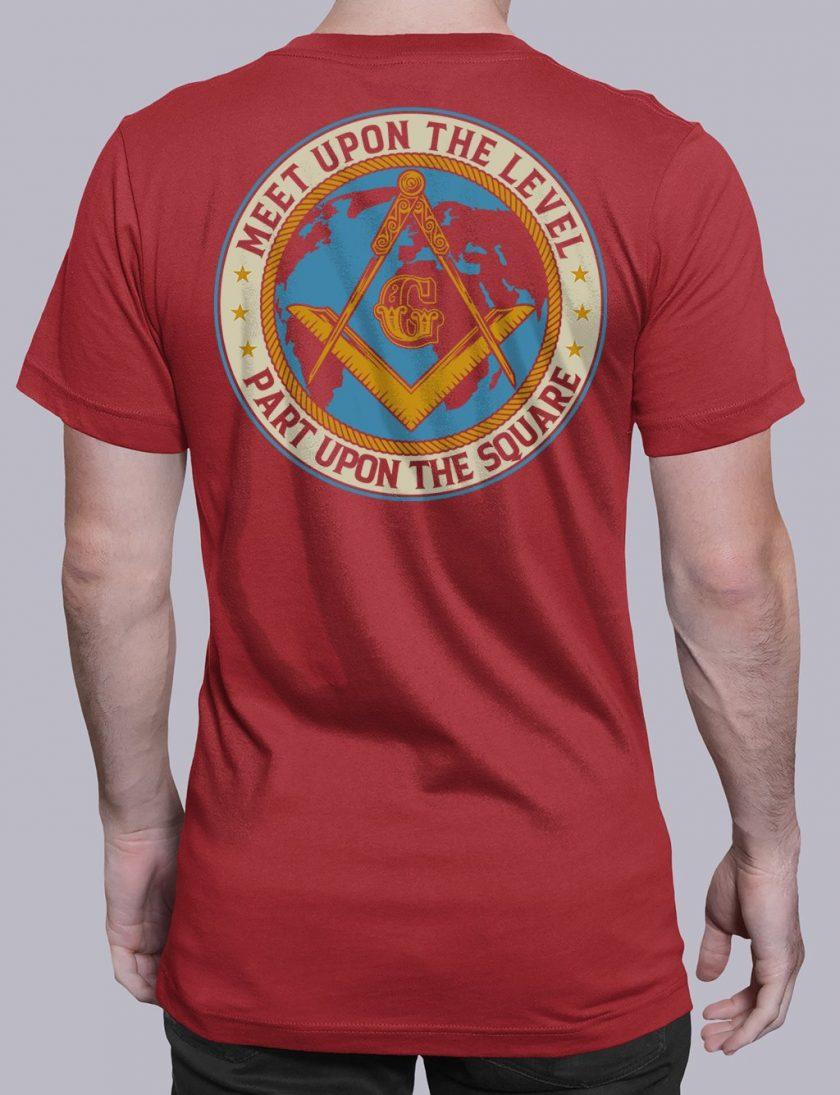Meet Upon The Level Masonic T-shirt Meet Upon The Level. Part Upon The Square red shirt back 8