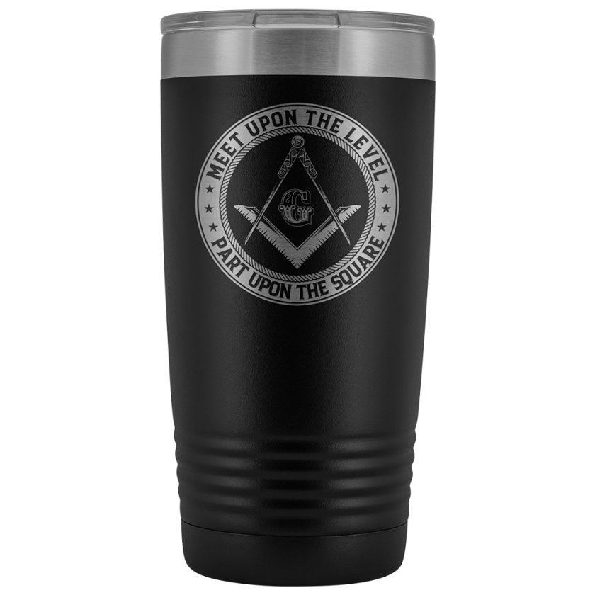 Part Upon The Square Masonic 20oz Tumbler Black