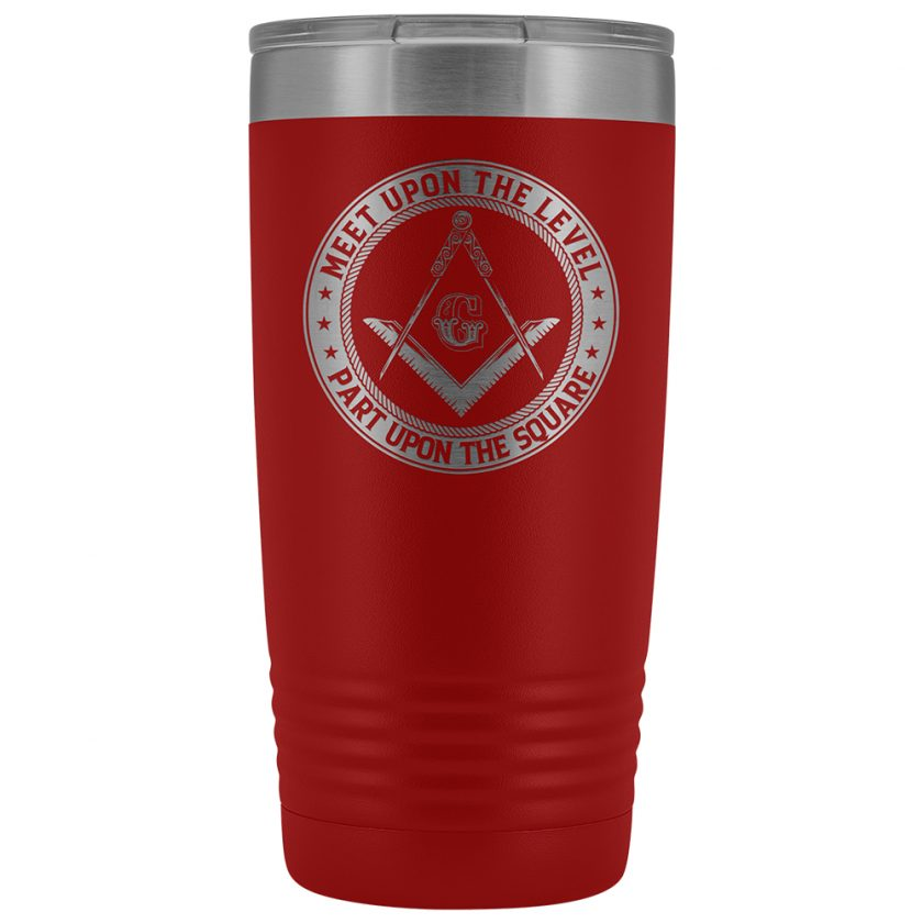 Part Upon The Square Masonic 20oz Tumbler Red