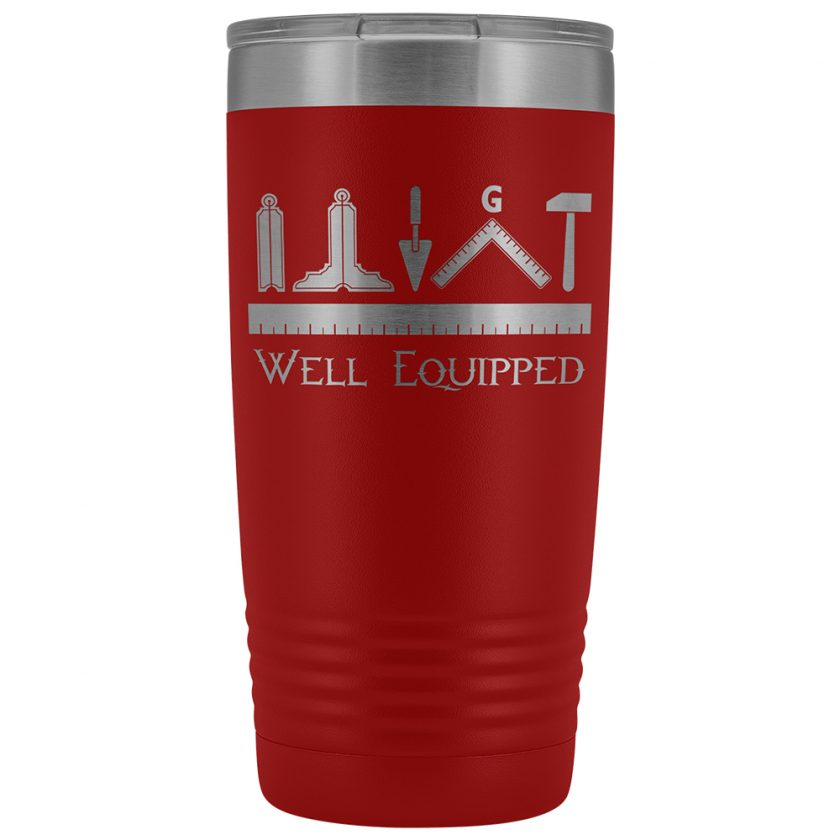 Well Equipped Masonic 20oz Tumbler Red