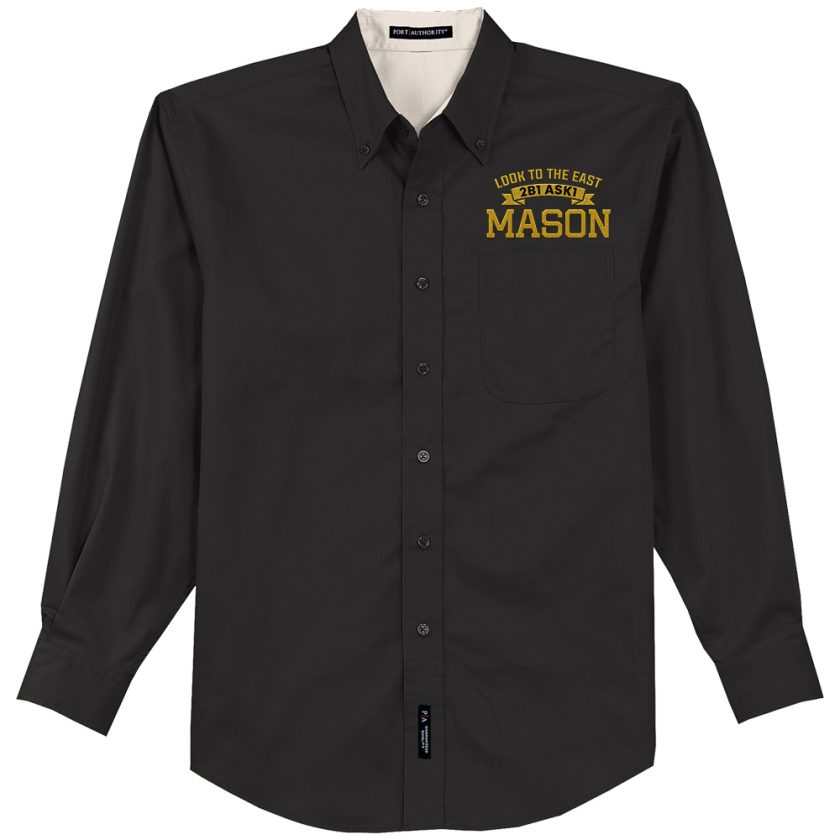 2B1 ASK1 Masonic Embroidered black Dress Shirt