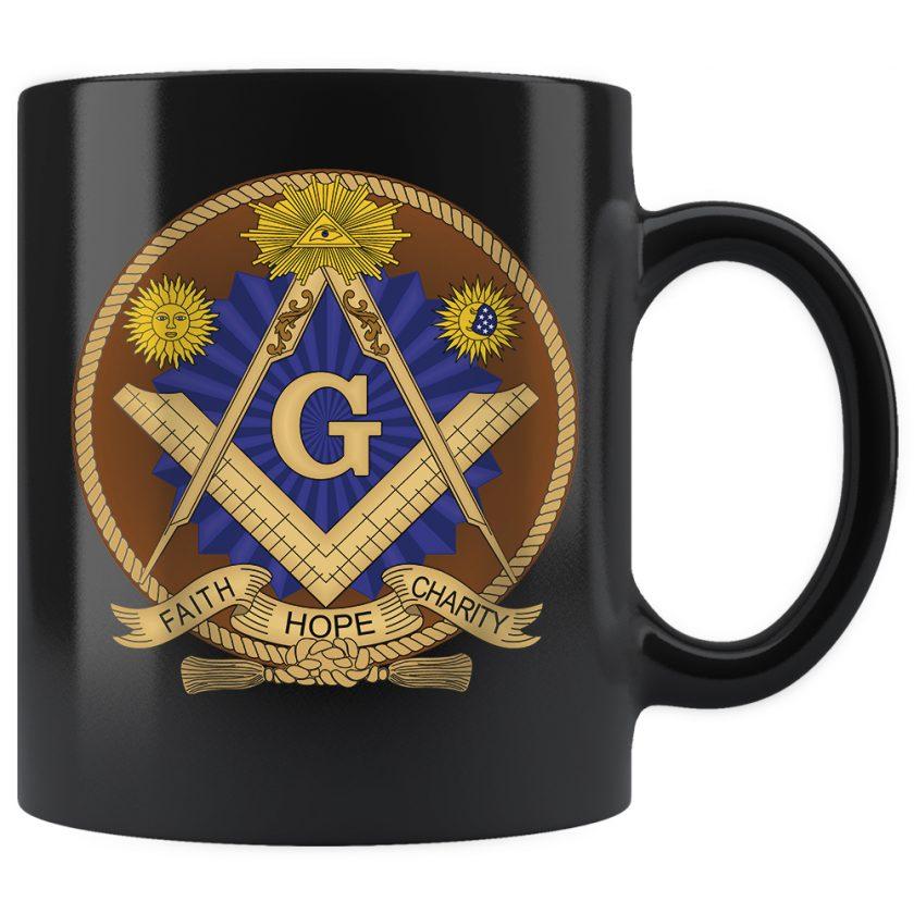 Faith Hope and Charity Masonic mug