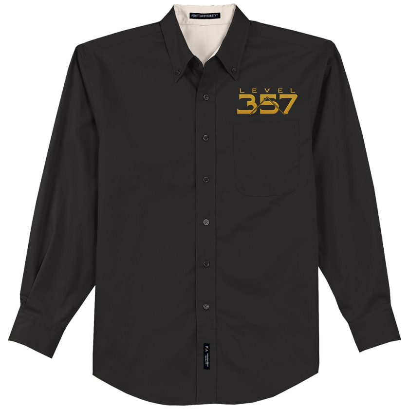 Level 357 Embroidered black Dress Shirt