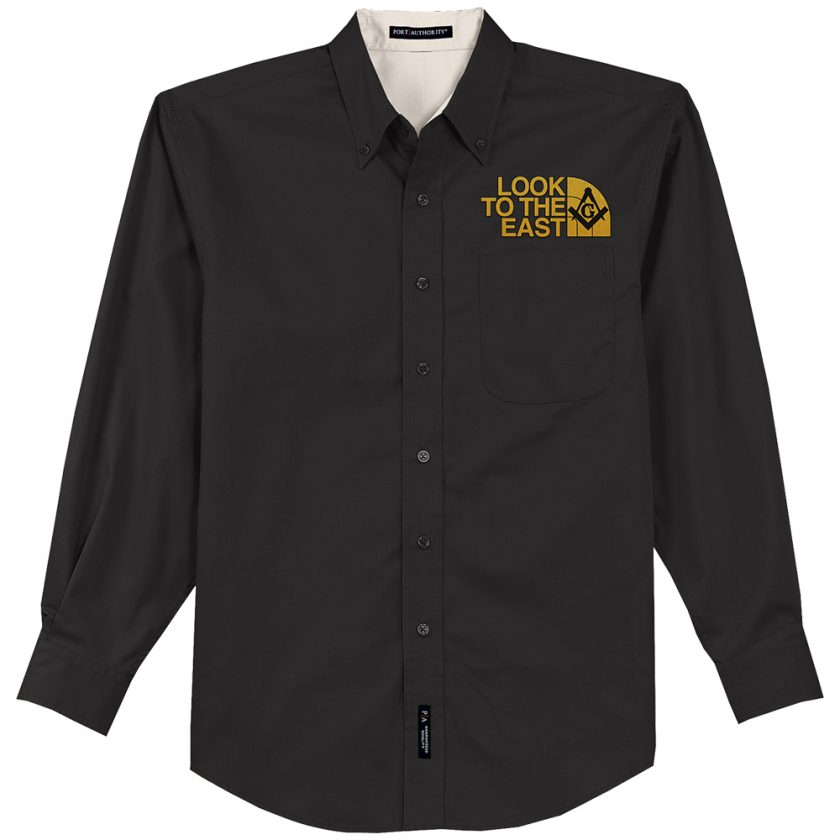 Look To The East Masonic Embroidered black Dress Shirt