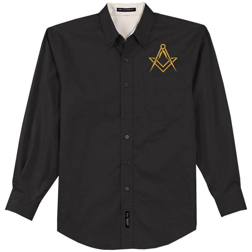 Masonic Emblem Embroidered black Dress Shirt