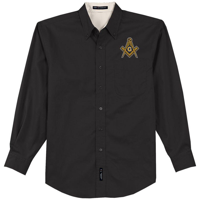 Masonic Embroidered Dress Shirt Masonic Embroidered black Dress Shirt