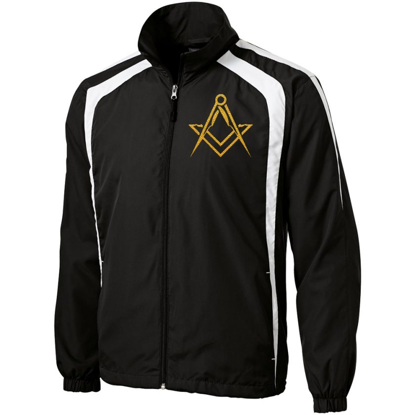 Masonic Symbol Embroidered black white unhooded jacket new