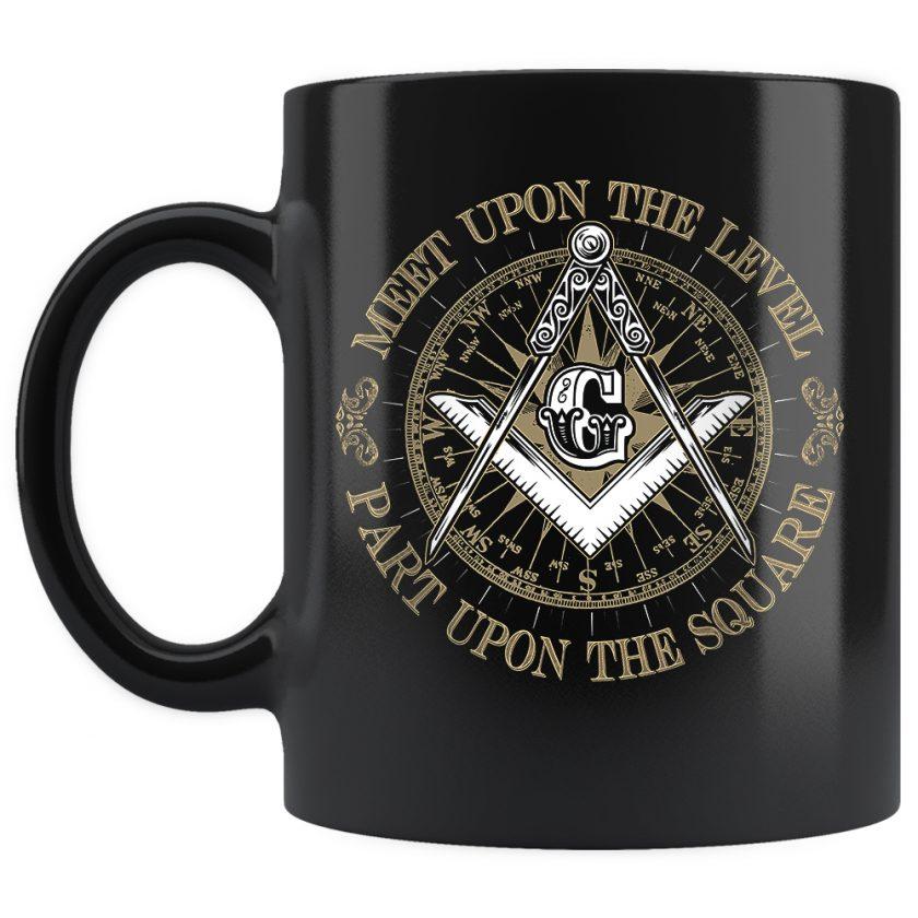 Part upon the square masonic mug 11oz