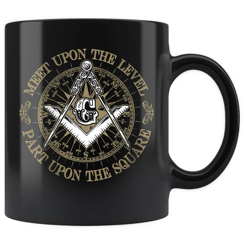 Part upon the square masonic mug