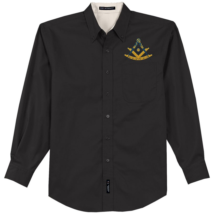 Past Master Masonic Embroidered black Dress Shirt