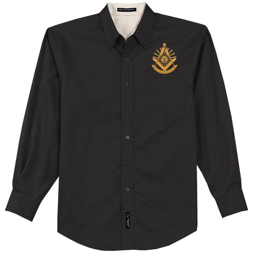 Past Master Masonic black stone dress shirt