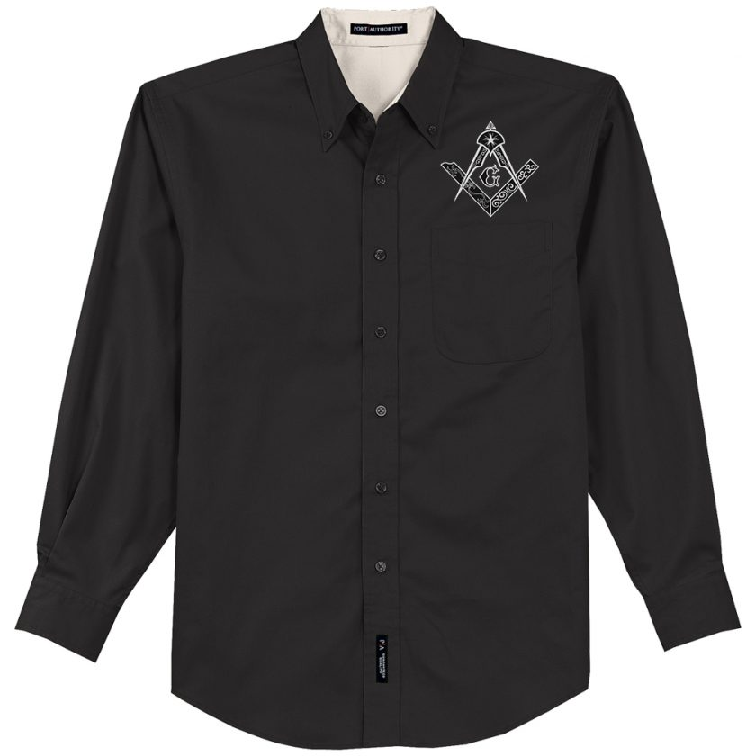 Square Compas Freemason Embroidered black Dress Shirt