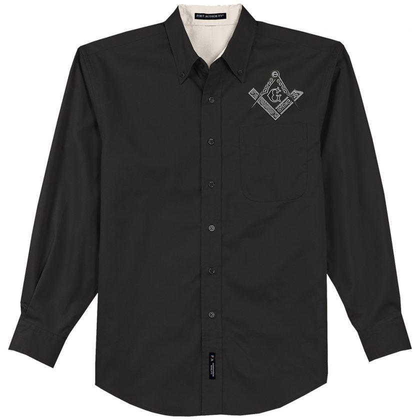 Square & Compas Masonic Embroidered Dress Shirt Square Compas Masonic Embroidered black dress shirt