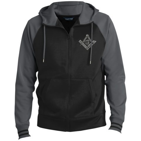 Square & Compass Hooded Masonic Jacket Square Compas Masonic Embroidery grey Hooded Jacket