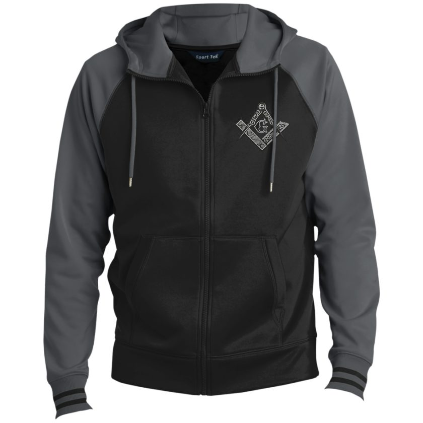 Square Compas Masonic Embroidery grey Hooded Jacket