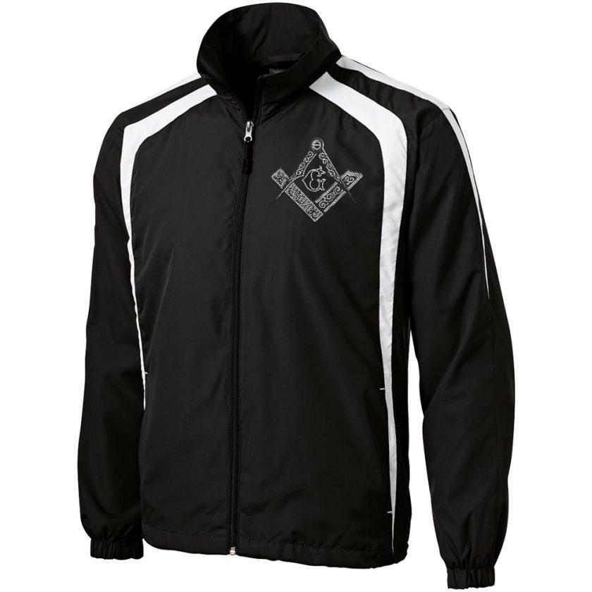 Square Compas Masonic black white unhooded jacket