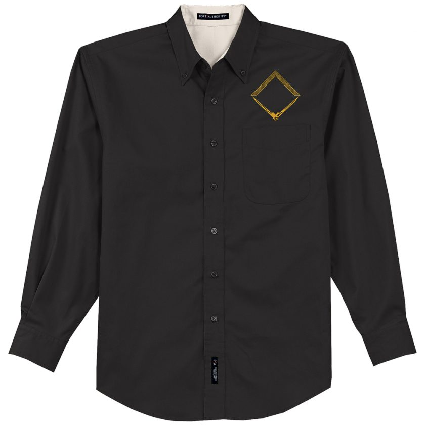 Square and Compass embroidery black Dress Shirt