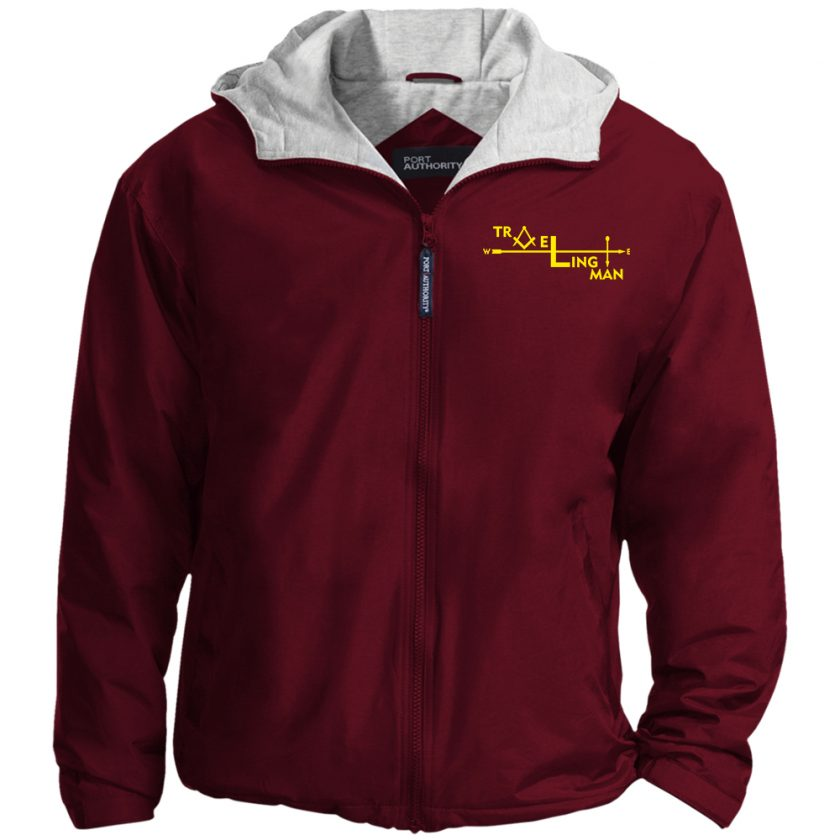 Traveling Man Embroidered Jacket Maroon
