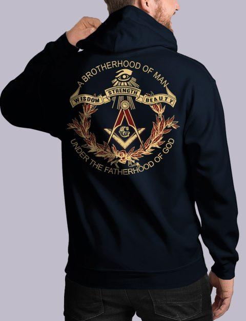 A Brotherhood Of Man Freemason Hoodie bros of man 3 back navy hoodie