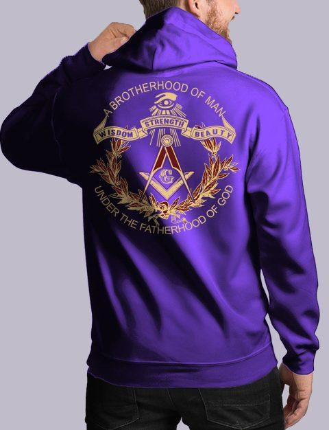 A Brotherhood Of Man Freemason Hoodie bros of man 3 back purple hoodie