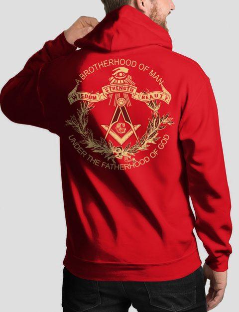 A Brotherhood Of Man Freemason Hoodie bros of man 3 back red hoodie