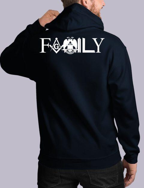 Family Freemason Masonic Hoodie family back navy hoodie