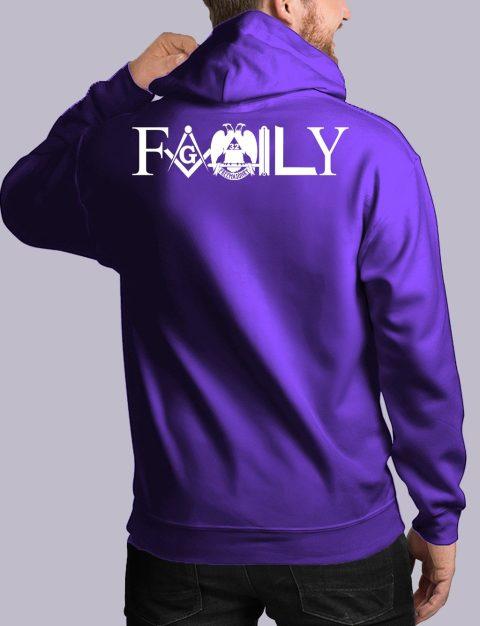 Family Freemason Masonic Hoodie family back purple hoodie