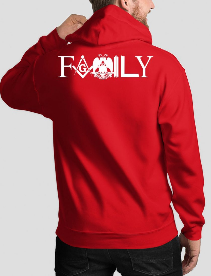family back red hoodie