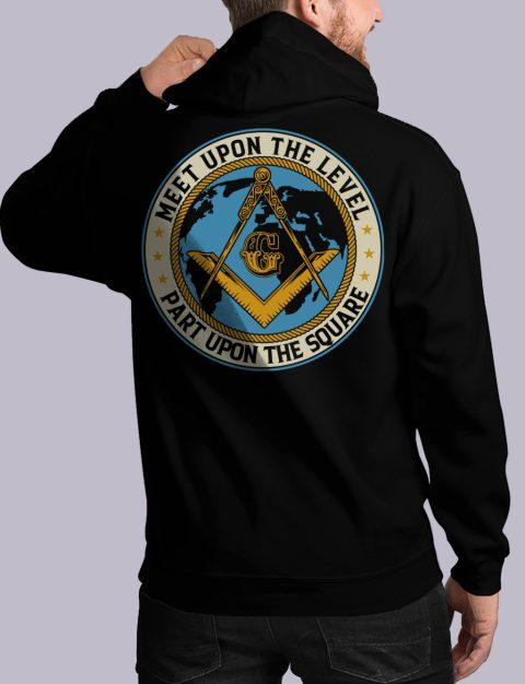 Meet Upon The Level Masonic Hoodie meet up back black hoodie 1