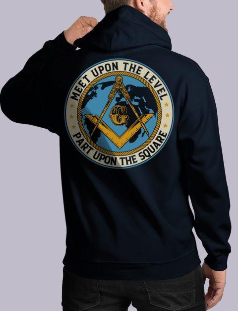 Meet Upon The Level Masonic Hoodie meet up back navy hoodie