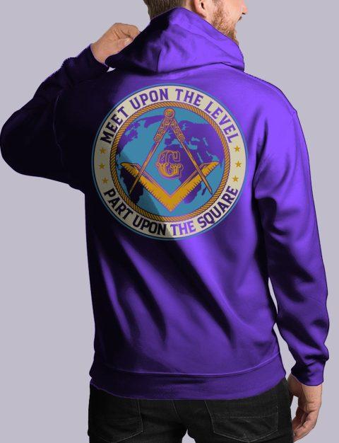 Meet Upon The Level Masonic Hoodie meet up back purple hoodie
