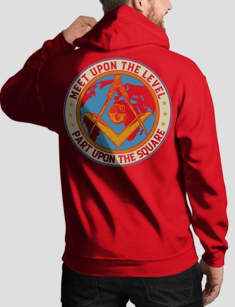 Meet Upon The Level Masonic Hoodie meet up back red hoodie