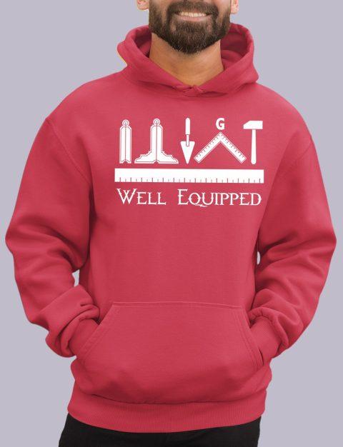 Well Equipped Masonic Hoodie well e red hoodie