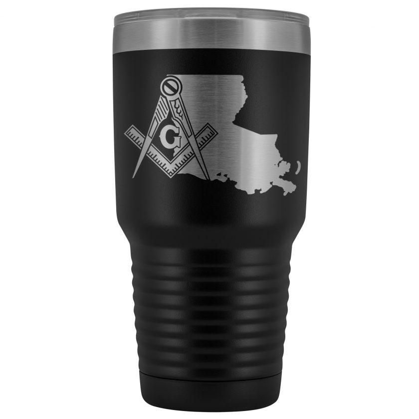 Louisiana Masonic Black Tumbler