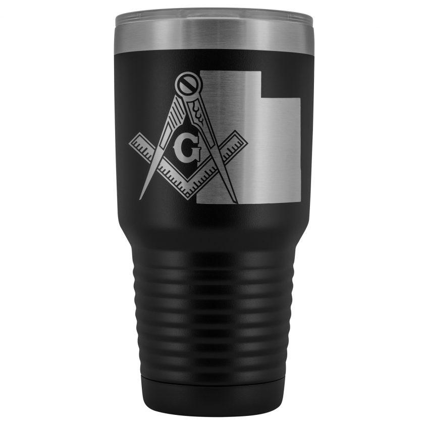 Utah Masonic Black Tumbler