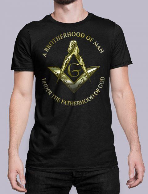 A Brotherhood Of Man Masonic Freemason T-Shirt A Brotherhood Of Man 2 front black shirt