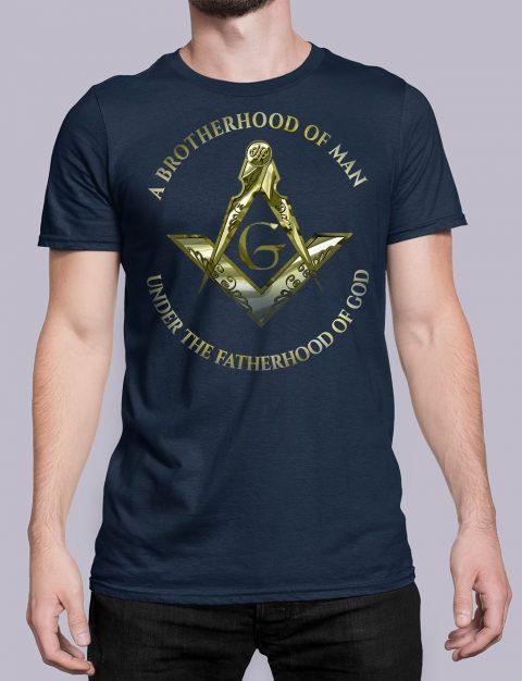 A Brotherhood Of Man Masonic Freemason T-Shirt A Brotherhood Of Man 2 front navy shirt