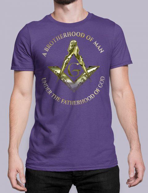A Brotherhood Of Man Masonic Freemason T-Shirt A Brotherhood Of Man 2 front purple shirt