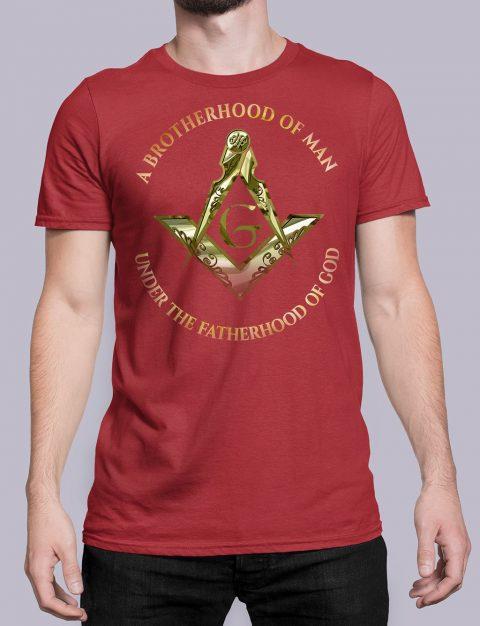 A Brotherhood Of Man Masonic Freemason T-Shirt A Brotherhood Of Man 2 front red shirt