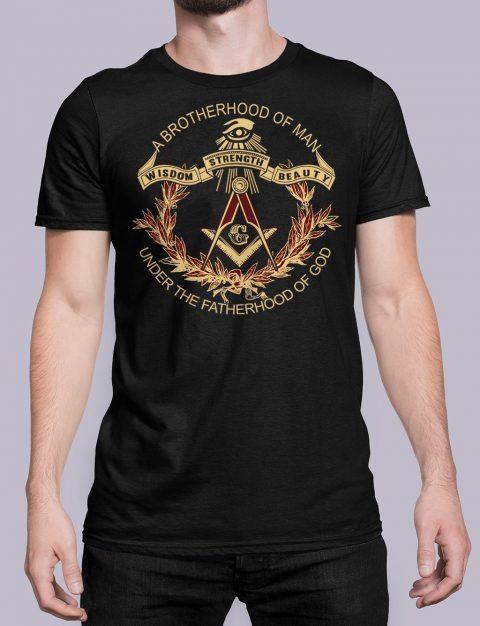 A Brotherhood Of Man Masonic T-Shirt A Brotherhood Of Man front black shirt