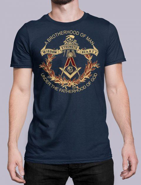 A Brotherhood Of Man Masonic T-Shirt A Brotherhood Of Man front navy shirt