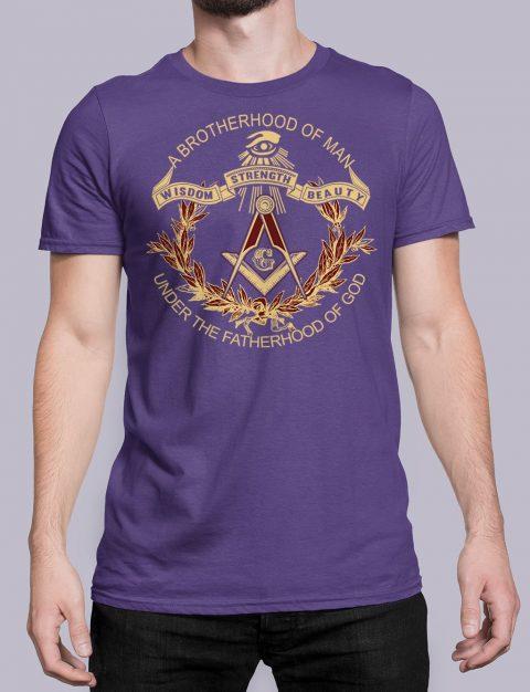 A Brotherhood Of Man Masonic T-Shirt A Brotherhood Of Man front purple shirt